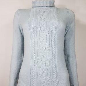 light blue 100% cashmere turtleneck sweater XS